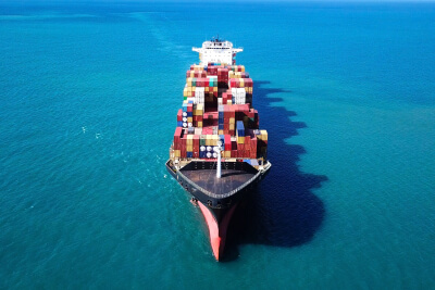Large container ship at sea